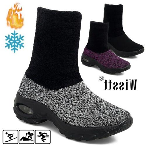women fashion air cushion sneakers fur lined