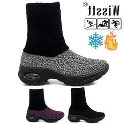 women air cushion running sneakers fur lined