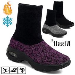 Women's Air Cushion Running Shoes Fur Lined Jogging Sports A