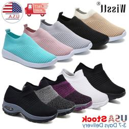Womens Sports Air Cushion Sneakers Mesh Breathable Slip-On R